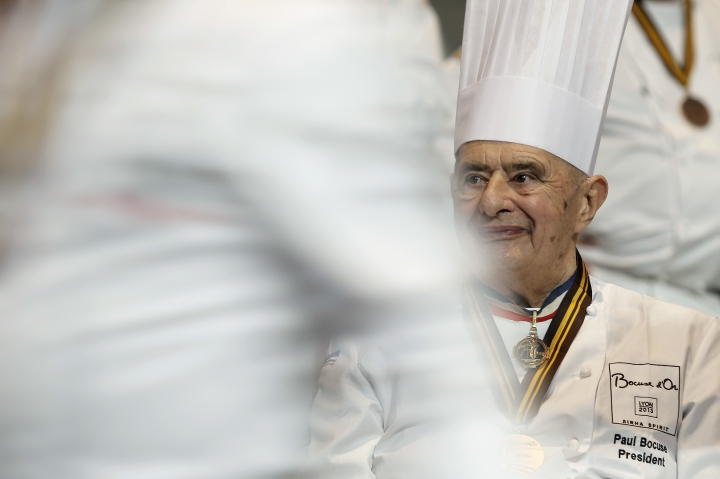 """FILE - In this Jan. 30 2013 file photo, French chef Paul Bocuse attends the """"Bocuse d'Or"""" (Golden Bocuse) trophy, at the 14th World Cuisine contest, in Lyon, central France. French interior minister announces Saturday Jan.20, 2018 that Paul Bocuse, a master of French cuisine, has died at 91. (AP Photo/Laurent Cipriani, File)"""