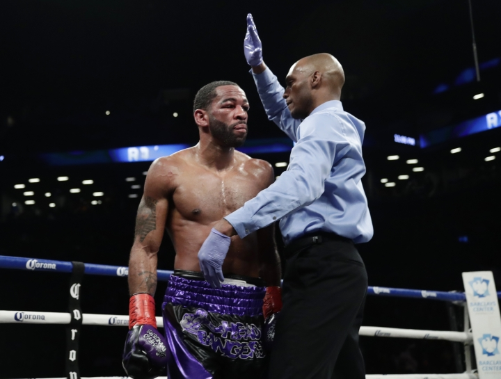 Lamont Peterson reacts as the referee stops his IBF welterweight championship boxing match against Errol Spence Jr. during the eighth round Saturday, Jan. 20, 2018, in New York. Spence won the bout. (AP Photo/Frank Franklin II)