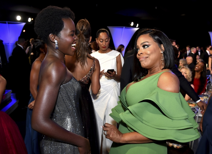 Lupita Nyong'o, left, and Niecy Nash attend the 24th annual Screen Actors Guild Awards at the Shrine Auditorium & Expo Hall on Sunday, Jan. 21, 2018, in Los Angeles. (Photo by Vince Bucci/Invision/AP)
