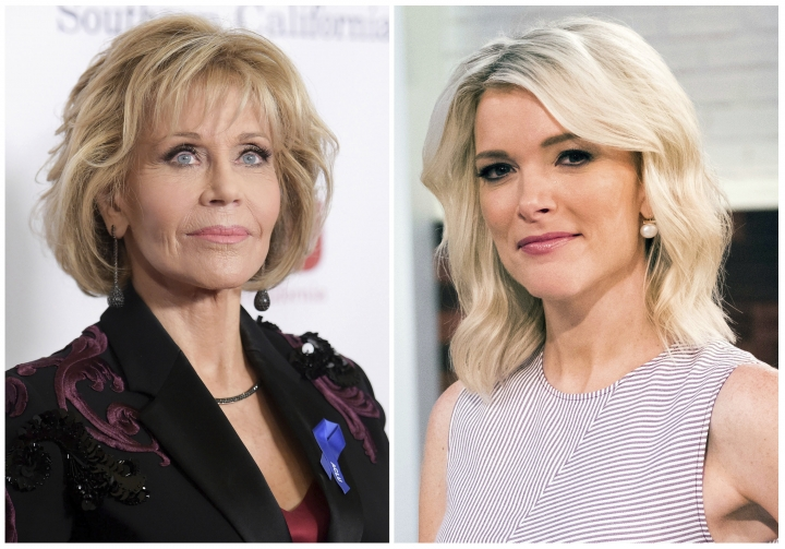 "In this combination photo, Jane Fonda appears at the 2017 ACLU SoCal's Bill of Rights Dinner in Beverly Hills, Calif., on Dec. 3, 2017, left, and Megyn Kelly poses on the set of her new show, ""Megyn Kelly Today"" in New York on Sept, 21, 2017. Kelly says Jane Fonda ""has no business lecturing anyone on what qualifies as offensive"" after the actress criticized her for bringing up the subject of plastic surgery in an interview last September. Fonda glared at Kelly and objected to the topic and, in an interview with Variety published over the weekend, called the question inappropriate and said she was stunned it was brought up. Kelly noted Monday, Jan. 22, 2018, that Fonda had discussed the topic of her own surgery in the past (Photos by Richard Shotwell, left, Charles Sykes/Invision/AP)"