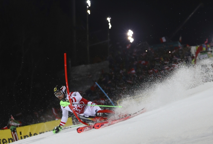 Austria's Marcel Hirscher competes during an alpine ski, men's World Cup slalom in Schladming, Austria, Tuesday, Jan. 23, 2018. (AP Photo/Marco Trovati)