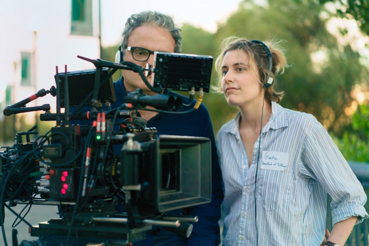 """This image released by A24 Films shows director Greta Gerwig on the set of """"Lady Bird."""" Gerwig was nominated for an Oscar for best director, Tuesday, Jan. 23, 2018. The 90th Oscars will air live on ABC on Sunday, March 4. (Merie Wallace/A24 via AP)"""