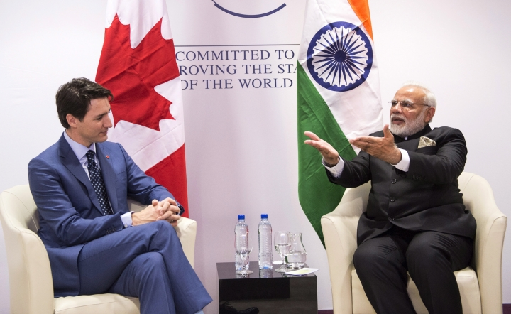 Prime Minister Justin Trudeau meets with Indian Prime Minister Narendra Modi, right, on Tuesday, Jan. 23, 2018, in Davos, Switzerland at the World Economic Forum. (Paul Chiasson/The Canadian Press via AP)