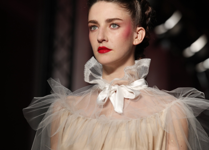 A model wears a creation for French fashion designer Alexis Mabille's Haute Couture Spring-Summer 2018 fashion collection, presented in Paris, Tuesday, Jan.23, 2018. (AP Photo/Francois Mori)