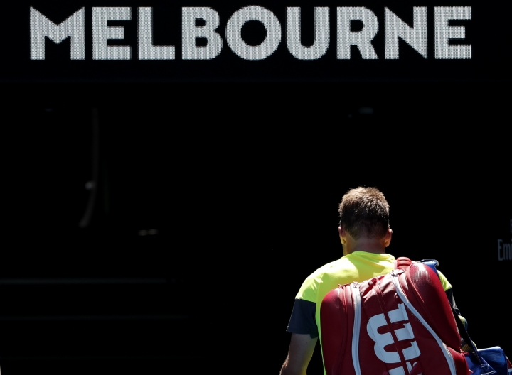 United States' Tennys Sandgren leaves Rod Laver Arena after losing his quarterfinal to South Korea's Chung Hyeon at the Australian Open tennis championships in Melbourne, Australia, Wednesday, Jan. 24, 2018. (AP Photo/Vincent Thian)