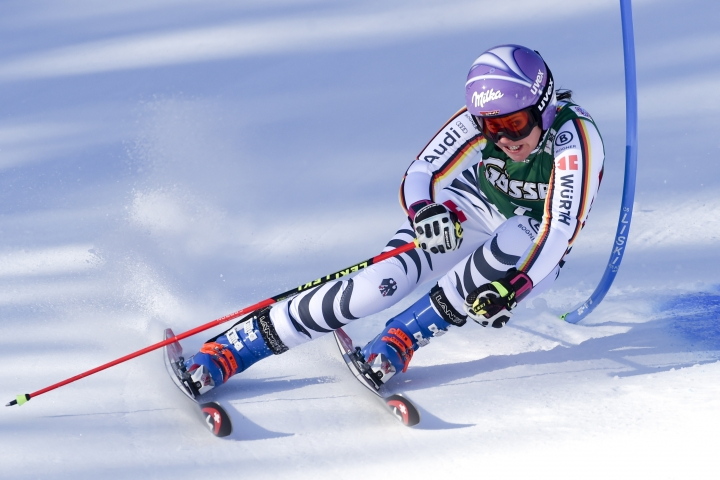 FILE - In this Dec. 29, 2017 file photo, Germany's Viktoria Rebensburg competes during an alpine ski women's World Cup giant slalom, in Lienz, Austria. The German ski team's hopes of Olympic success have been buoyed by the emergence of Thomas Dressen and return to form of Viktoria Rebensburg. (AP Photo/Marco Tacca,file)