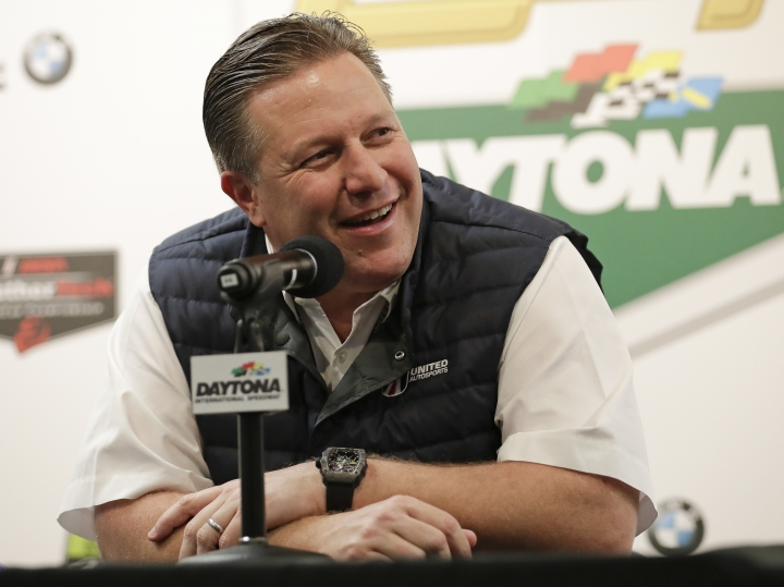 Zak Brown, team owner of United Autosports, answers questions at a news conference about the IMSA 24-hour auto race at Daytona International Speedway, Thursday, Jan. 25, 2018, in Daytona Beach, Fla. (AP Photo/John Raoux)