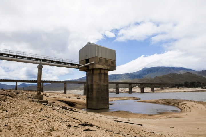 """Cape Town's main water supply from the Theewaterskloof dam outside Grabouw, Cape Town, South Africa, Tuesday, Jan. 23, 2018. A harsh drought may force South Africa's showcase city of Cape Town to turn off most of its taps, as the day that the city runs out of water, ominously known as """"Day Zero"""", moves ever closer for the nearly 4 million residents.(AP Photo)"""