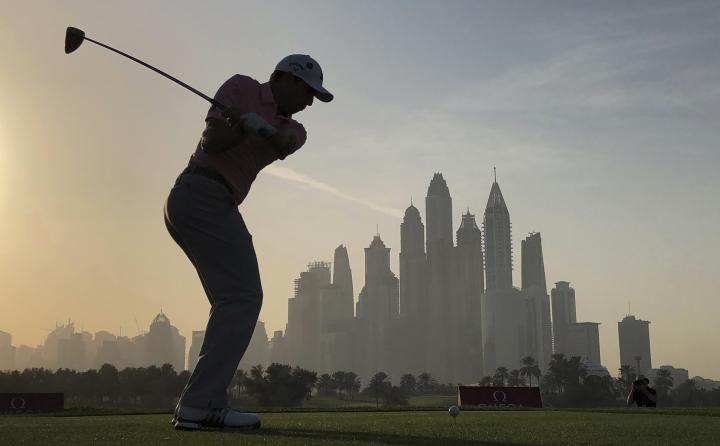 Spain's Sergio Garcia tees off on the 8th hole during the second round of the Dubai Desert Classic golf tournament in Dubai, United Arab Emirates, Friday, Jan. 26, 2018. (AP Photo/Kamran Jebreili)
