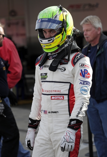Will Owen leaves his garage after a practice session for the IMSA 24-hour auto race at Daytona International Speedway, Friday, Jan. 26, 2018, in Daytona Beach, Fla. (AP Photo/John Raoux)