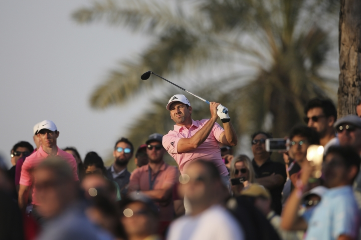 Spain's Sergio Garcia tees off on the 9th hole during the second round of the Dubai Desert Classic golf tournament in Dubai, United Arab Emirates, Friday, Jan. 26, 2018. (AP Photo/Kamran Jebreili)