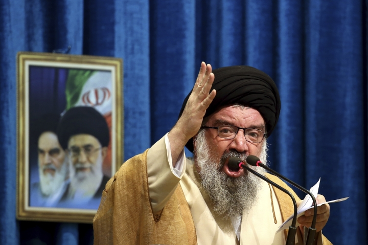 FILE- In this Friday, Jan. 5, 2018 file photo, Iranian senior cleric Ahmad Khatami delivers his sermon during Friday prayer ceremony in Tehran, Iran. (AP Photo/Ebrahim Noroozi, File)