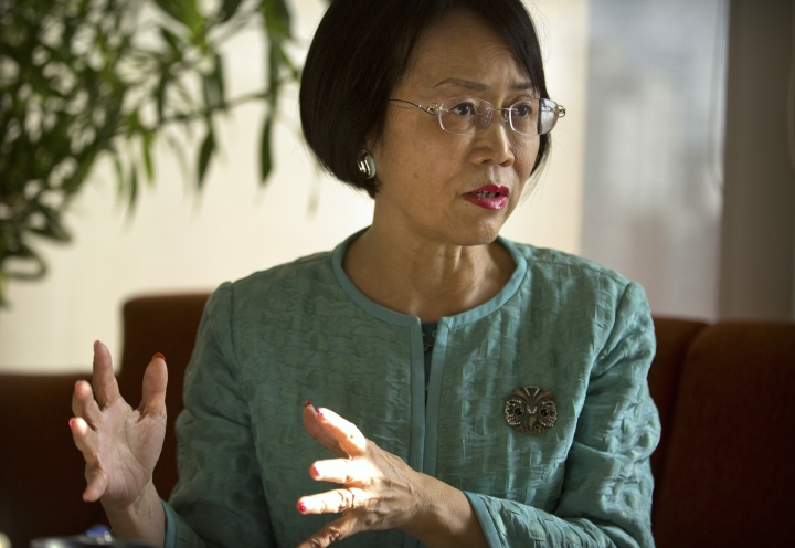 "In this Jan. 18, 2018 photo, Hu Shuli, publisher at Caixin Media, speaks during an interview at the Caixin offices in Beijing. In a rare interview with the Associated Press, Hu spoke bullishly about transitioning into a publisher role at Caixin, the newsmagazine she co-founded in 2009, and the prospect of doing more to help Chinese women gain their rights as the ""Me Too"" movement goes global. (AP Photo/Mark Schiefelbein)"