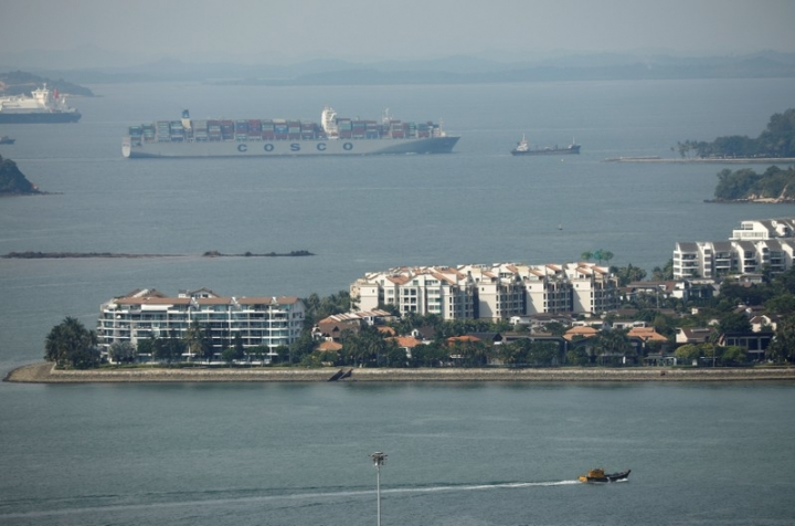 FILE PHOTO: A container ship passes the Sentosa Cove luxury apartment enclave in Singapore August 14, 2017.  REUTERS/Edgar Su/File Photo