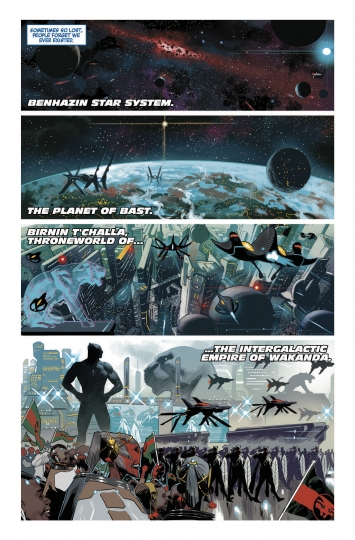 "This image provided by Marvel Comics shows a page from Marvel Legacy #1 drawn by Daniel Acuna featuring Ta-Nehisi Coates' new Black Panther storyline, ""The Intergalactic Empire of Wakanda"" from Marvel Comics. As people gear up for the ""Black Panther"" movie, acclaimed author Ta-Nehisi Coates wants them to check out the original source, Marvel's Black Panther comic book, where he's booting up a massive outer space adventure for the king of Wakanda. (Marvel via AP)"