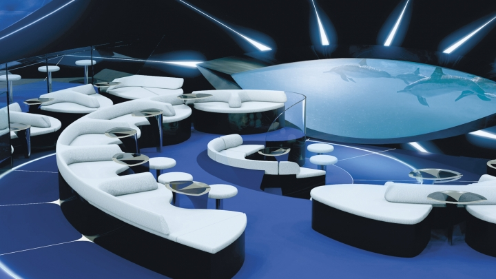 This undated image provided by Ponant shows a rendering of the Blue Eye, a lounge that will be located beneath the water line on a Ponant expedition ship debuting later this year, Le Laperouse. The Blue Eye will have two windows and digital screens showing images from underwater cameras, and it will also transmit underwater sounds and vibrations. (Ponant via AP)