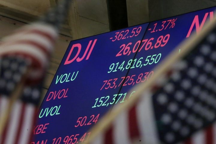 A board above the floor of the New York Stock Exchange shows the closing number for the Do Jones industrial average Tuesday, Jan. 30, 2018. The stock market slumped to its worst loss since August, giving back some of the big gains it has posted since the beginning of the year. (AP Photo/Richard Drew)