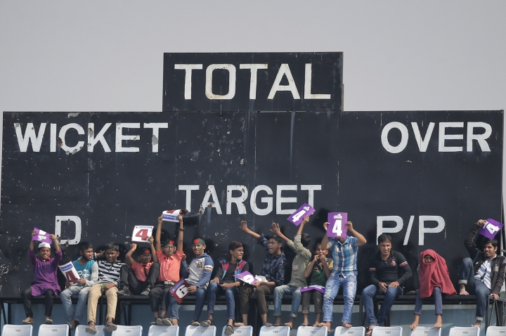 Bangladeshi spectators cheer their team during the first day of the first test cricket match against Sri Lanka in Chittagong, Bangladesh, Wednesday, Jan. 31, 2018. (AP Photo/A.M. Ahad)
