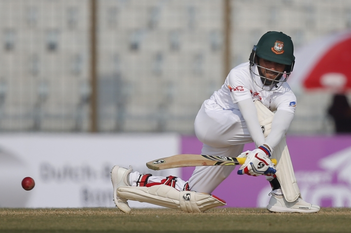 Bangladesh's Mominul Haque plays a shot during the first day of their first test cricket match against Sri Lanka in Chittagong, Bangladesh, Wednesday, Jan. 31, 2018. (AP Photo/A.M. Ahad)