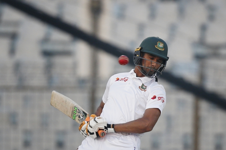 Bangladesh's captain Mahmudullah avoids a bouncer during the first day of their first test cricket match against Sri Lanka in Chittagong, Bangladesh, Wednesday, Jan. 31, 2018. (AP Photo/A.M. Ahad)