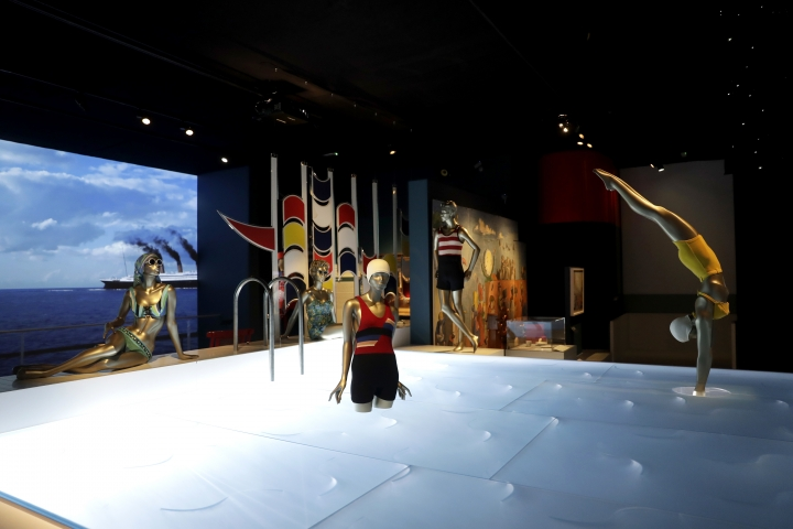 "An installation of mannequins in bathing suits made between the 1920s and 1960s is displayed during a media preview of the ""Ocean Liners: Speed and Style"" exhibition at the V&A gallery in London, Wednesday, Jan. 31, 2018. The exhibition, jointly organised by the Peabody Essex Museum in Salem, Massachusetts and the V&A, studies the design and cultural impacts of ocean liners. It features over 250 objects, and opens to the public from Feb. 3 until June 17. (AP Photo/Matt Dunham)"