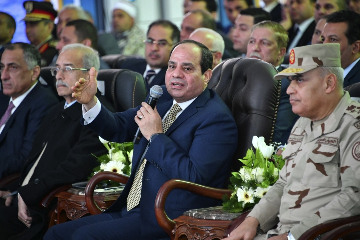 Egyptian President Abdel-Fattah el-Sissi speaks during a ceremony marking the start of a massive gas project with Italian energy firm Eni, Wednesday Jan. 31, 2018, in Port Said, Egypt. During the ceremony el-Sissi again accused unknown parties of being behind the 2016 murder in Egypt of Italian researcher Giulio Regeni, alleging a plot to sabotage bilateral relations. He pledged Egypt would help bring the killers of the 28-year-old researcher to justice. (MENA via AP)