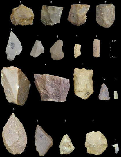 This image provided by the Sharma Centre for Heritage Education, India in January 2018 shows a sample of artifacts from the Middle Palaeolithic era found at the Attirampakkam archaeological site in southern India. The discovery of stone tools at the site shows a style that has been associated elsewhere with our species. They were fashioned from 385,000 years ago to 172,000 years ago, showing evidence of continuity and development over that time. That starting point is a lot earlier than scientists generally think Homo sapiens left Africa. (Kumar Akhilesh, Shanti Pappu/Sharma Centre for Heritage Education, India via AP)