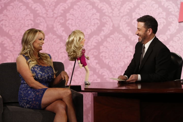 "This image released by ABC shows adult film star Stormy Daniels, left, with host Jimmy Kimmel on ""Jimmy Kimmel Live!"" Tuesday, Jan. 30, 2018, in Los Angeles. (Randy Holmes/ABC via AP)"