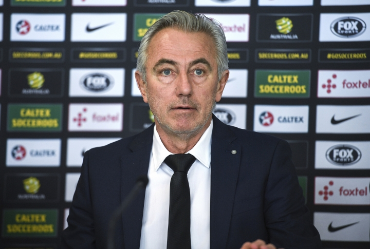 Australian national soccer team head coach Bert van Marwijk comments during a press conference at in Sydney, Thursday, Feb. 1, 2018. New coach van Marwijk is confident Australia can qualify from its World Cup group stage and says he will have the team play his style to get there. (Brendan Esposito/AAP Image via AP)
