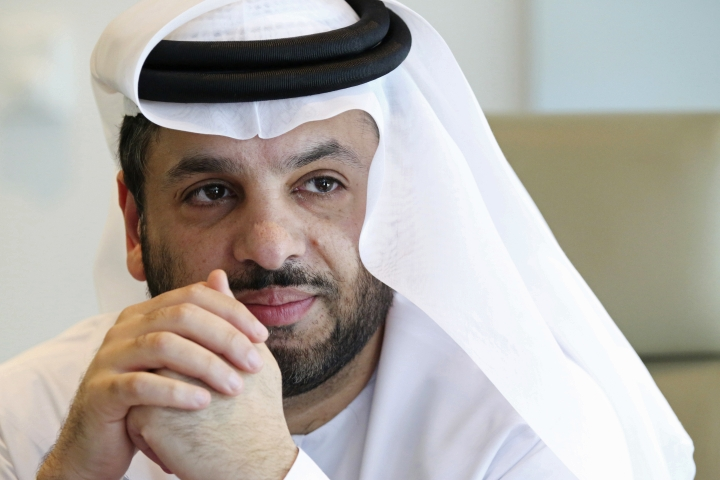 In this Tuesday, Jan. 30, 2018 photo, DarkMatter CEO Faisal al-Bannai speaks to journalists in Abu Dhabi, United Arab Emirates. DarkMatter, a growing cybersecurity company that's recruited Western intelligence analysts, is slowly stepping out of the shadows amid activist concerns about its power. Al-Bannai says DarkMatter takes part in no hacking but acknowledges the firm's close business ties to the Emirati government, as well as hiring former CIA and National Security Agency analysts. (AP Photo/Jon Gambrell)