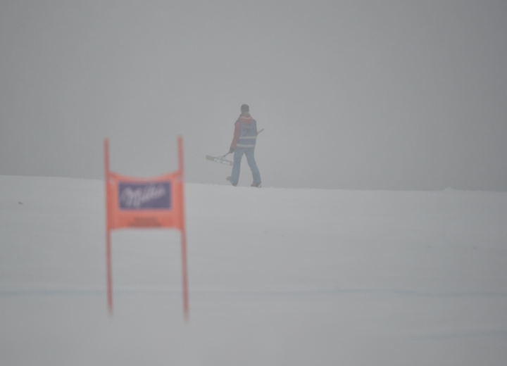 Fog and rain at the Kandahar downhill course in Garmisch-Partenkirchen, Germany, Thursday, Feb. 1, 208. The training for the women's downhill World Cup was canceled due to bad weather conditions. (Angelika Warmuth/dpa via AP)