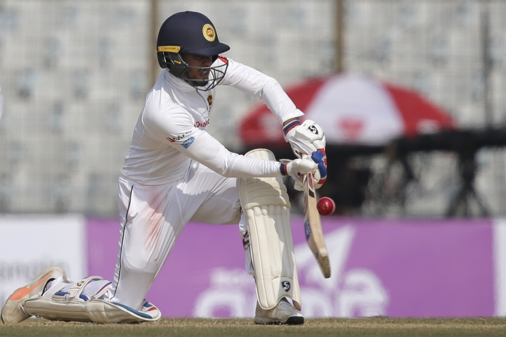 Sri Lanka's Dhananjaya de Silva plays a shot during the second day of their first test cricket match against Bangladesh in Chittagong, Bangladesh, Thursday, Feb. 1, 2018. (AP Photo/A.M. Ahad)