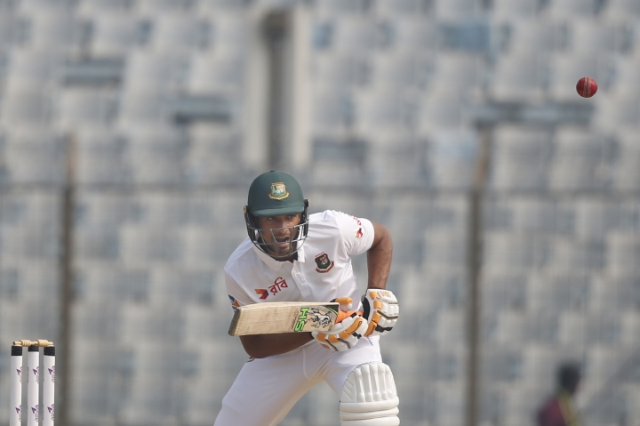 Bangladesh's captain Mahmudullah plays a shot during the second day of their first test cricket match against Sri Lanka in Chittagong, Bangladesh, Thursday, Feb. 1, 2018. (AP Photo/A.M. Ahad)