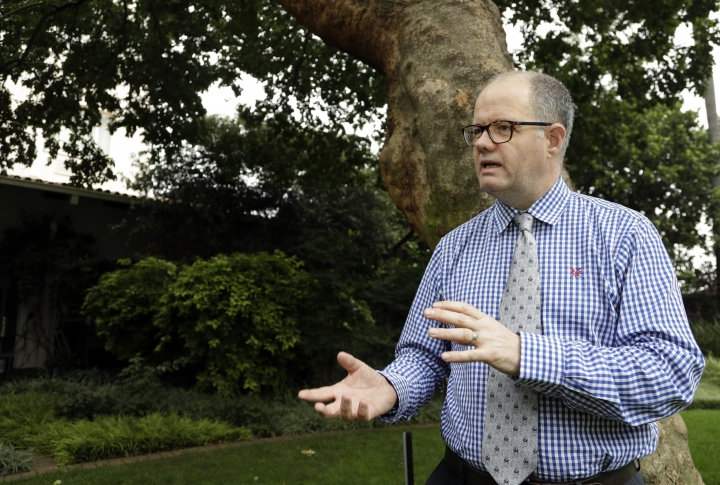 "Grant Miller, a senior officer in Britain's Border Force, reacts during an interview with Associated Press in Johannesburg, South Africa, Thursday, Feb. 1, 2018. In South Africa for a British-hosted workshop on trafficking flora and fauna, Miller said that Britons made it clear in a recent consultation by the government that ""a domestic ivory market in the United Kingdom is no longer socially acceptable."" (AP Photo/Themba Hadebe)"