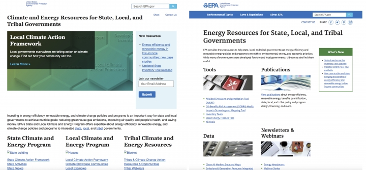 These images from the EPA's webpage on Climate and Energy Resources for State, Local, and Tribal Governments as it appeared April 13. 2017, left, and as it appeared on Feb. 1, 2018. Newly released emails show EPA Administrator Scott Pruitt personally monitored efforts last year to excise much of the information about climate change from the agency's website, especially President Obama's signature effort to reduce planet-warming carbon emissions from coal-fired power plants. (EPA via AP)