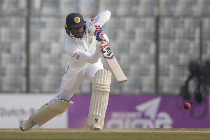 Sri Lanka's Dhananjaya de Silva plays a shot during the third day of their first test cricket match against Bangladesh in Chittagong, Bangladesh, Friday, Feb. 2, 2018. (AP Photo/A.M. Ahad)