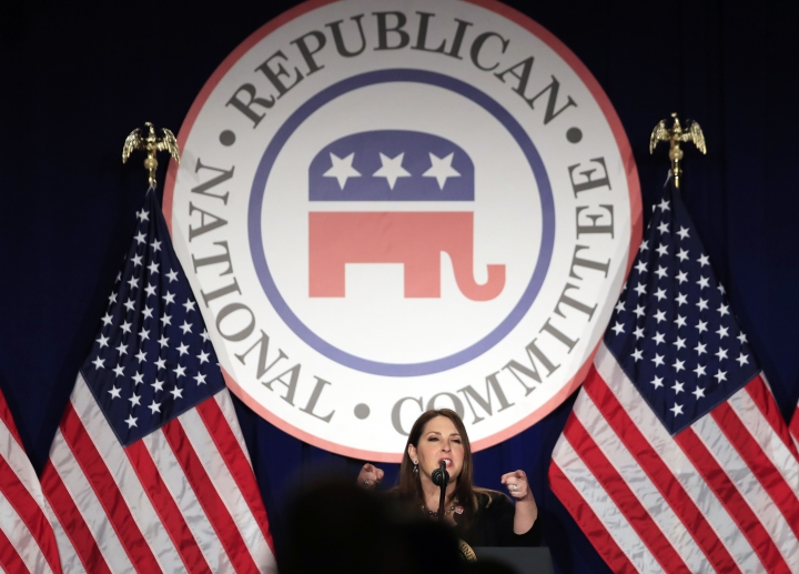 RNC Chairman Ronna McDaniel speaks at the Republican National Committee winter meeting in Washington, Thursday, Feb. 1, 2018. Hours after her friend and colleague at the RNC had been accused of sexual misconduct, Ronna McDaniel was on the phone with President Donald Trump for a difficult conversation. Casino magnate Steve Wynn, the RNC's finance chairman and a mutual friend, had to step aside, she said to a man who also has faced accusations of sexual misconduct but refused to be derailed by them. McDaniel, the RNC's chairwoman, says the president listened, and ultimately agreed, Wynn had to go. (AP Photo/Manuel Balce Ceneta)