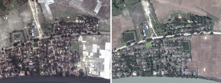 "This combination of May 26, 2017, left, and Dec. 20, 2017, satellite images provided by DigitalGlobe show the village of Gu Dar Pyin, Myanmar before and after destruction. The Associated Press has confirmed more than five previously unreported mass graves in the village through multiple interviews with more than two dozen survivors in Bangladesh refugee camps and through time-stamped cellphone videos. The Myanmar government regularly claims massacres like Gu Dar Pyin never happened, and has acknowledged only one mass grave containing 10 ""terrorists"" in the village of Inn Din. (DigitalGlobe via AP)"