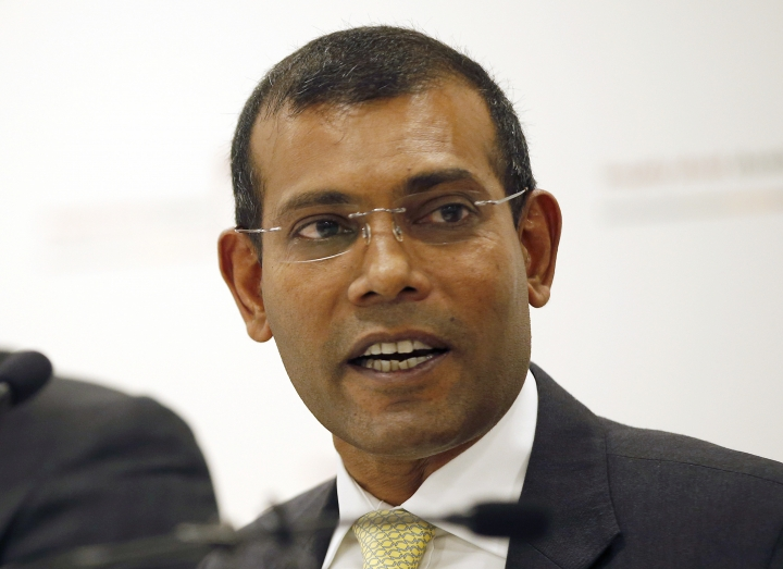 FILE - In this Monday, Jan. 25, 2016, file photo, former Maldives president Mohamed Nasheed speaks during a press conference in London. Political opponents of the Maldives government clashed with police on the streets of the capital early Friday, Feb. 2, 2018, after the Supreme Court ordered the release of imprisoned politicians, including an ex-president living in exile in Britain. Hundreds of people celebrated in Male by waving the country's flag after the court overturned verdicts against ex-President Nasheed and an ex-vice president jailed after trials that were internationally condemned. The court said in its ruling late Thursday the guilty verdicts had been influenced by the government. (AP Photo/Alastair Grant, File)