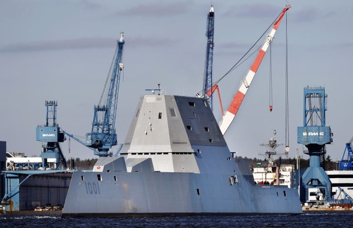 FILE - In this Dec. 4, 2017 file photo, the future USS Michael Monsoor leaves Bath Iron Works to head out to sea for trials in Bath, Maine. The ship is the second in the stealthy Zumwalt class of destroyers. A statement from Naval Sea Systems Command says the future USS Michael Monsoor successfully completed its acceptance trials Thursday, Feb. 1, 2018. The statement says onboard systems such as navigation, damage control, mechanical, combat, communication and propulsion met or exceeded specifications.(AP Photo/Robert F. Bukaty, File)