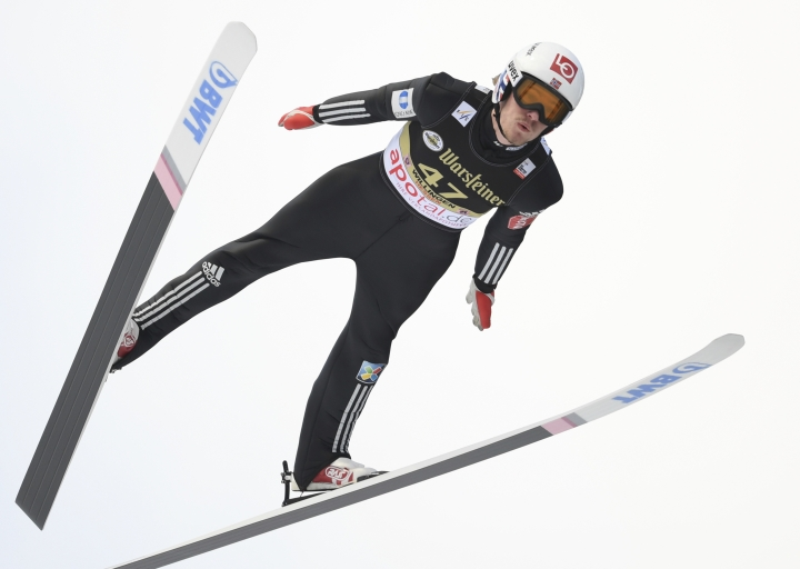 Norway's Daniel Andre Tande competes during trial jump of the men's ski jumping World Cup event in Willingen, Germany, Saturday, Feb. 3, 2018. (Arne Dedert/dpa via AP)