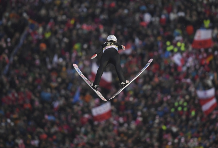 Norway's Daniel Andre Tande competes during the first run of the men's ski jumping World Cup event in Willingen, Germany, Saturday, Feb. 3, 2018. (Arne Dedert/dpa via AP)