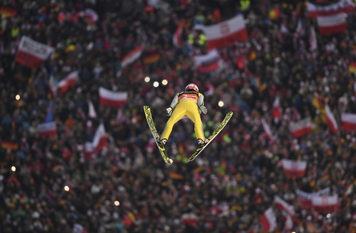 Germany's Richard Freitag competes during the first run of the men's ski jumping World Cup event in Willingen, Germany, Saturday, Feb. 3, 2018. (Arne Dedert/dpa via AP)