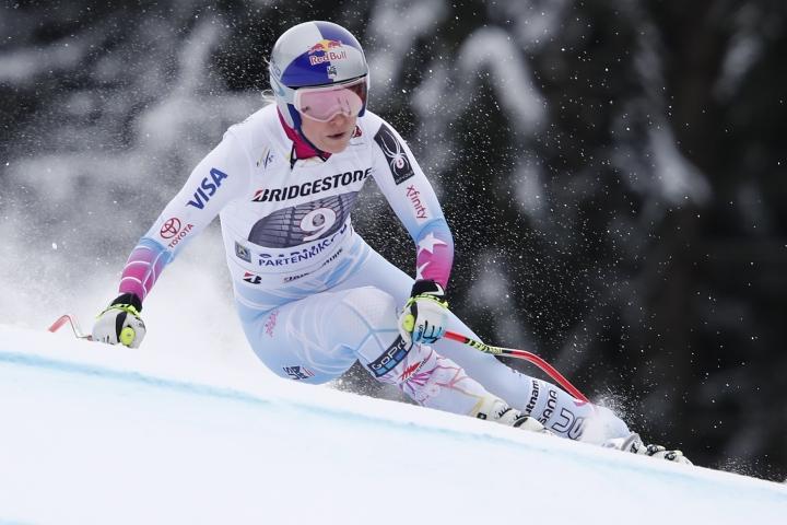 United States' Lindsey Vonn competes during an alpine ski, women's world Cup downhill race, in Garmisch Partenkirchen, Germany, Saturday, Feb. 3, 2018. (AP Photo/Gabriele Facciotti)