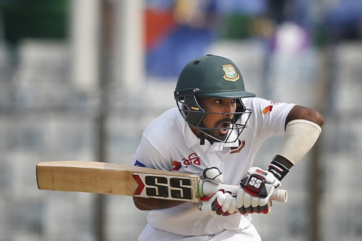 Bangladesh's Liton Das reacts as he bats during the fifth and final day of the first test cricket match against Sri Lanka in Chittagong, Bangladesh, Sunday, Feb. 4, 2018. (AP Photo/A.M. Ahad)