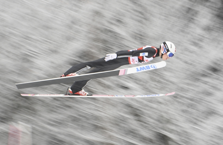 Norway's Johann Andre Forfang soars through the air during the first run of the men's ski jumping World Cup, in Willingen, Germany, Sunday, Feb. 4, 2018. (Arne Dedert/dpa via AP)