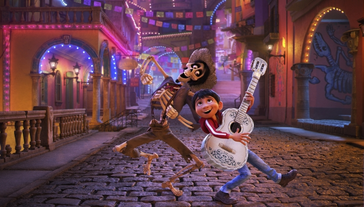"In this image released by Disney-Pixar, character Hector, voiced by Gael Garcia Bernal, left, and Miguel, voiced by Anthony Gonzalez, appear in a scene from the animated film, ""Coco."" Pixar's ""Coco"" swept the 45th Annie Awards, winning 11 awards at the annual ceremony honoring the year's best in animation. (Disney-Pixar via AP)"