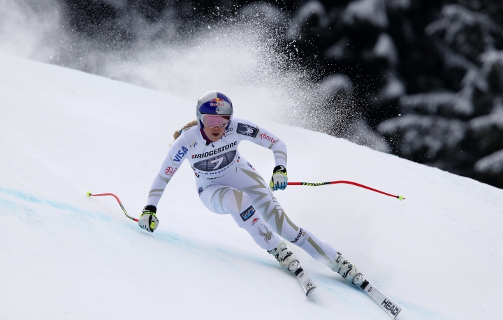 United States' Lindsey Vonn competes during an alpine ski, women's world Cup downhill race, in Garmisch Partenkirchen, Germany, Sunday, Feb. 4, 2018. (AP Photo/Gabriele Facciotti)