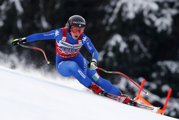 Italy's Sofia Goggia competes during an alpine ski, women's world Cup downhill race, in Garmisch Partenkirchen, Germany, Sunday, Feb. 4, 2018. (AP Photo/Gabriele Facciotti)