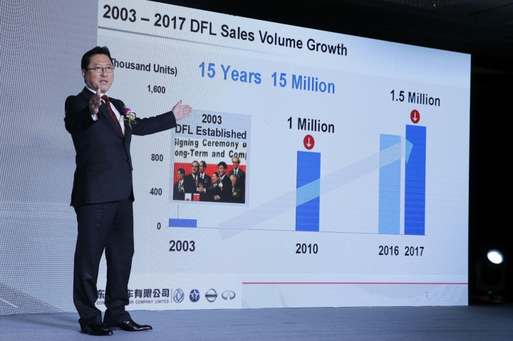 Dongfeng President Jun Seki gestures while speaking during its 2018-2022 midterm plan press conference in Beijing, Monday, Feb. 5, 2018. Nissan will start sales of its all-electric Leaf in China this year and develop 20 electric models with its Chinese partner over the next five years, the companies said Monday. The electric vehicles are part of a 60 billion yuan ($10 billion) investment plan through 2020 for Nissan Motor Co. and Dongfeng Motor Ltd. (AP Photo/Andy Wong)